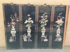"""VTG Chinese Asian Oriental Mother Of Pearl Black 4 Panel Wall Art 48""""x36"""" Screen"""