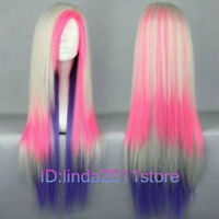 Hot Sell! Lolita Long Multi-Color Mixed Straight Cosplay wig + Wig cap NO:A119