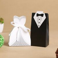 10/50/100pcs couple candy box gift box wedding party favor with white ribbon D1