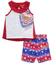 """Apple Bottom Girl's Outfit 2 Pc """"Apple Stars"""" Shirt & Shorts Set Size 24 Months"""