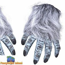 GREY HAIRY WEREWOLF HANDS HALLOWEEN Mens Ladies Womens Fancy Dress Accessory