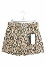 ZARA WOMENS SNAKE ANIMAL PRINT HIGH-WAISTED BELTED SHORTS *XS/UK 6* BNWT