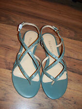 Talbots NEW Rosemary Hope Strap Sandals Sage Green gold studs  size 8  $99