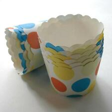 MULTI DOTS NUT OR PORTION PAPER CUPS WITH SCALLOPED TOPS - RED BLUE CREAM YELLOW