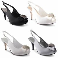 Womens Ladies Mid Heel Diamante Slingback Peep Toe Bridal Sandals Shoes UK 3-8