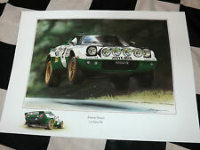 LANCIA STRATOS ALITALIA V6 WORKS RALLY CAR NEW PAINTING PRINT ART WORK RALLYING