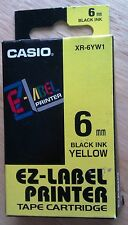 Casio XR-6YW1 Ez-Label Printer Tape Cartridge Black/Yellow Original & New