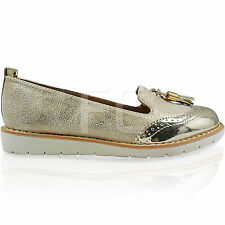NEW WOMENS LADIES SLIP ON FLAT LOW BROGUES LOAFER TASSEL SHOES PUMPS SIZE CASUAL