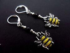 A PAIR OF CUTE HONEY BEE ENAMEL DANGLY  LEVERBACK HOOK  EARRINGS.