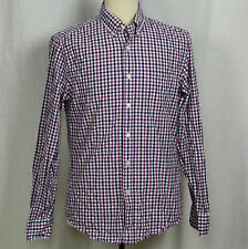 J.Crew Long Sleeve Slim Fit 100% Cotton Check Plaid Button Shirt Men Sz M EUC