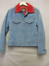 V6054 Montana Clothing Co. Denim w/Red Suede Cowboy Snap Up Jacket Women's S