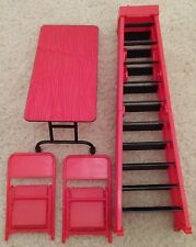 Table Ladder Chair TLC Wrestling Figure Accessory Lot WWE Mattel Elite Style Red