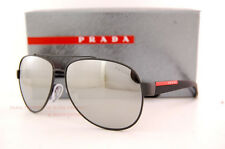 New Prada Sport Sunglasses PS 55QS TIG/2B0 BLACK RUBBER/GREY WITH SILVER MIRROR