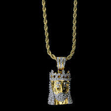 """MENS 14K GOLD FINISH .925 STERLING SILVER MICRO JESUS PENDANT + 30"""" ROPE CHAIN"""