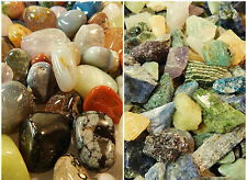 Tumbled & Rough Gemstones Crystals Mix 1/2Lb of Each Rocks Stones 1 Lb Total