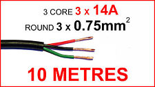 10M 0.75MM2 ROUND 3 CORE CABLE 14AMP CAR WIRE 10 METRES TRIPLE THREE CORE .75mm2