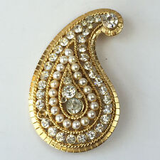 Gold tone leaf shape with white rhinestones and faux pearls pin brooch... Lot 9C