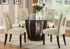 NEW 5PC CASUAL WEST PALM ROUND GLASS ESPRESSO FINISH WOOD DINING TABLE SET