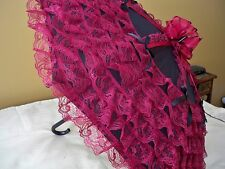 NEW GOTHIC VICTORIAN BURGANDY LACE w/BOWS on 32 inch in diameter BLACK PARASOL
