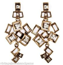 CLEAR WHITE CRYSTAL RHINESTONE Vtg Geometric Squares Gold Chandelier Earrings