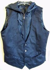 HERITAGE 1981 Men's Navy Blue Button-Front Zip-Lined Hoodie Vest S