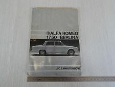 MANUALE ORIGINALE USO MANUTENZIONE 1968 ALFA ROMEO GIULIA 1750