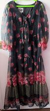 """BEAUTIFUL VINTAGE 1970'S BLACK CHIFFON FLOATY MAXI DRESS, SIZE 12/14, BY """"KATI"""""""
