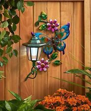 Butterfly Solar Lighted Wall Light Lantern Patio Deck Fence Yard Garden Decor