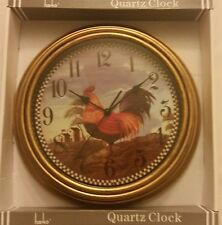 Rare Kitchen Decor Wall Clock, Chicken / Rooster on the farm, 12""