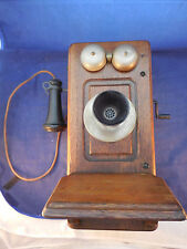 ANTIQUE KELLOGG OAK RINGER WALL PHONE