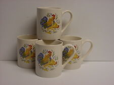 4 Corelle Country Morning Sandstone (Beige) 11-oz Stoneware Mugs Chicken Rooster