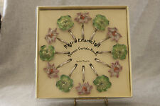Enamel Metal Flower Leaf Shower Curtain Hooks Luxury Set 12 Shabby Cottage Chic