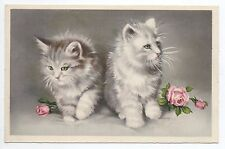 Animal CHAT carte par illustrateur 2 chatons blancs et fleurs 2