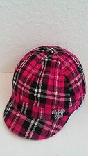 Mickey Mouse Disney Hot Pink and Black Plaid Cap Hat NEW