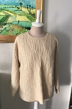 LL BEAN Irish Handknit Sweater Cream Womens M Heavy Knit 100% Wool Winter