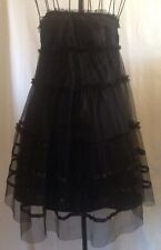 Wmns Sexy Goth Punk Witch Black Tiered Ribbon Trim Tulle Overlay Strapless Dress