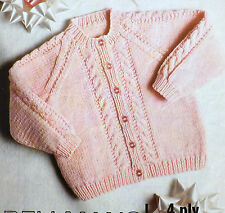 "Baby Cardigan Cable Knitting Pattern Vintage 4ply & DK Girl Children18-26""  B611"