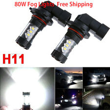 2 X H11/H8 80W CREE LED Fog Driving Car Head Lights Lamp Bulb Super White 6000K
