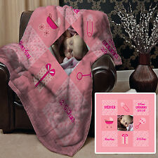 PERSONALISED BABY GIRL PHOTO DESIGN FLEECE DESIGN SOFT FLEECE BLANKET COVER