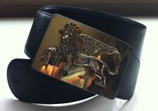 Moschino Redwall Vintage Leather Belt With Gold Tone Venice Lion Buckle