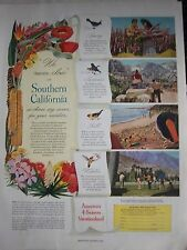 1949 Vintage Southern California Spring Summer Fall Winter Tourism Travel Ad