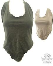 Green Tan Psychedelic Trippy Sexy Summer Chest Cover Halter Bra BoHo Tie Top