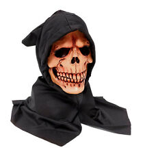 MENS LATEX SKULL MASK & HOOD ADULT GRIM REAPER HALLOWEEN GHOST FANCY DRESS NEW