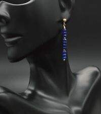 #BE-208 New 14K Solid Yellow Gold  Natural Blue Sapphire Stick Bar Earrings