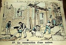 AFFICHE SCOLAIRE LEÇONS DE CHOSES N°17/18 LA CONSTRUCTION D'UNE MAISON