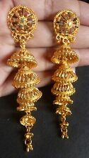 Gold Plated 5 Steps 3'' long Indian Bridal Jhumka earrings Ball Bead Set Party/