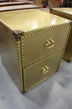 "20"" W Side Table Night Stand 2 Drawers Brass riveted Special deal"