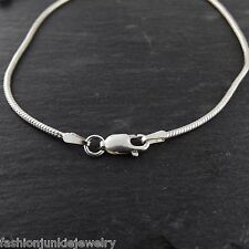 "8"" Sterling Silver Snake Chain Bracelet - 925 Italy 1.5mm 040 Lobster Clasp NEW"