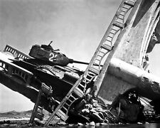 New 8x10 Korean War - Conflict Photo: Wrecked North Korean Tank on Bridge, Suwon