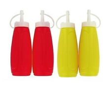2 x Plastic Tomato Ketchup Red Sauce & Mustard Squeezy Bottle Dispenser With Cap